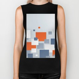 BLUE, WHITE AND ORANGE SQUARES ON A PALE BLUE BACKGROUND Abstract Art Biker Tank
