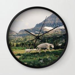 Montana Mountain Goat Family Wall Clock