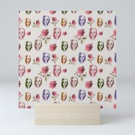 dead girl and roses pink Mini Art Print