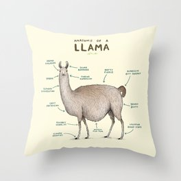Anatomy of a Llama Throw Pillow