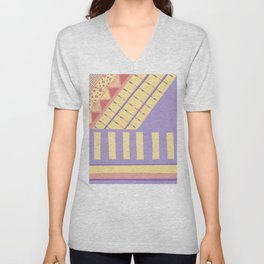 Lilac n Rose Geometry on Buttercream - from the Lilac Buttercup colour palette collection Unisex V-Neck