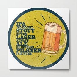 Beer always, vintage poster, circle, yellow Metal Print