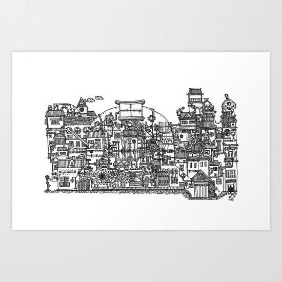 Busy City XI Art Print
