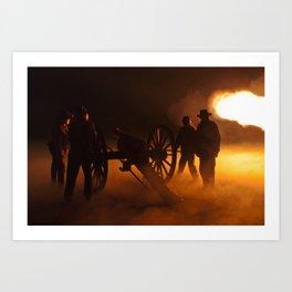 """""""Artillery Hell"""" Night firing of original Civil War 6 lb. bronze canons. Art Print"""