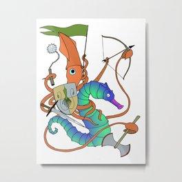 Squid Knight Metal Print