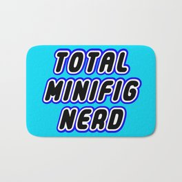 TOTAL MINIFIG NERD in Brick Font Logo Design [Alternate Colors] by Chillee Wilson Bath Mat