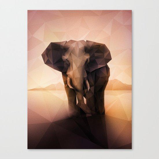 Elephant (Low Poly Peach) Canvas Print