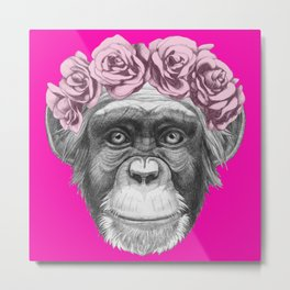 Hand drawn portrait of Monkey with floral head wreath Metal Print