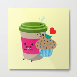 Tea and Muffin Metal Print