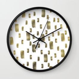 Modern Paint Brush Gold Copper Bronze Sparkle Wall Clock