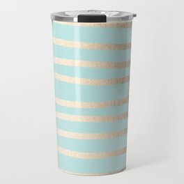 Simply Drawn Stripes White Gold Sands on Succulent Blue Travel Mug