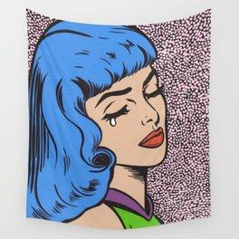 Blue Bangs Crying Girl Wall Tapestry