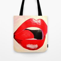 lipstick Tote Bags featuring LIPSTICK by Ming Myaskovsky