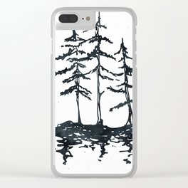 THE THREE SISTERS Black and White Clear iPhone Case