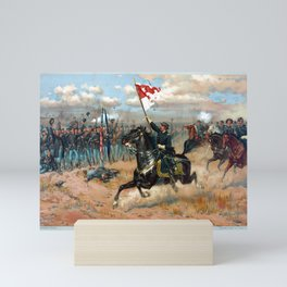 Vintage Lithograph of Sheridan's Ride Civil War Battle Mini Art Print