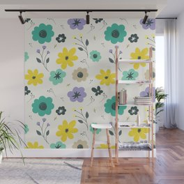 Modern ivory lime green teal violet floral illustration Wall Mural