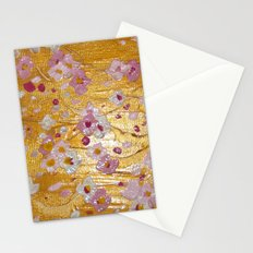 Cherry Blossoms on Gold Stationery Cards