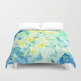 Watercolor Abstract Landscape Green Duvet Cover
