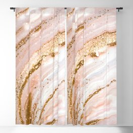 Blush Pink And Gold Liquid Color  Blackout Curtain