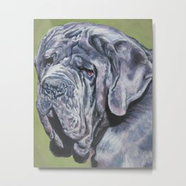 Neapolitan Mastiff dog art portrait from an original painting by L.A.Shepard Metal Print
