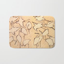 "Katsushika Hokusai ""Cranes from Quick Lessons in Simplified Drawing"" (1823)(original) Bath Mat"