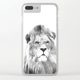 Black and white lion animal portrait Clear iPhone Case