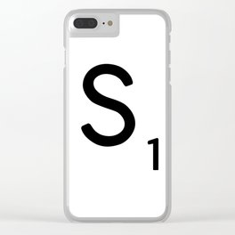 Letter S - Custom Scrabble Letter Tile Art - Scrabble S Initial Clear iPhone Case