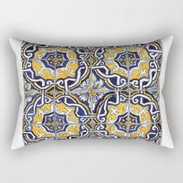 Ornate Blue, Yellow and White Portuguese Tile Rectangular Pillow