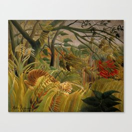 "Henri Rousseau ""Tiger in a Tropical Storm (Surprised!)"", 1891 Canvas Print"