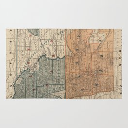 Vintage Map of North and South Dakota (1886) Rug