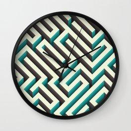Cyan Maze Wall Clock