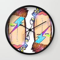 bowie Wall Clocks featuring Bowie by Camila Fernandez