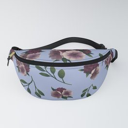 Hydrangea and Anemones Floral Patten Periwnkle Fanny Pack