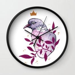 The Queen Dove bird painting Wall Clock