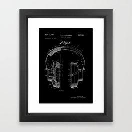 Headphones Patent - White on Black Framed Art Print