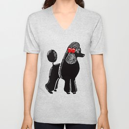 Black Standard Poodle with a Red Bow Unisex V-Neck