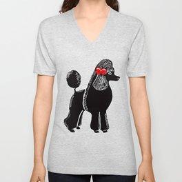Black Standard Poodle with a Red Bow Unisex V-Neck