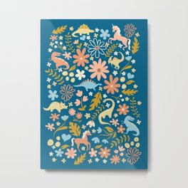 Dinosaurs + Unicorns in Blue + Coral Metal Print