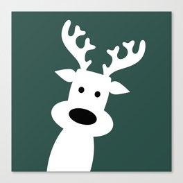 Reindeer on green background Canvas Print