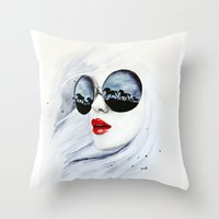 horses Throw Pillows featuring Wild Horses by anna hammer