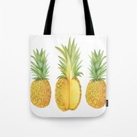 pinapple Tote Bags featuring Sketched pineapples by Clare Stoffels