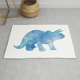 Light Blue Triceratops Watercolor Painting Rug