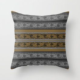 Fret Stripe in Black and Brown Throw Pillow