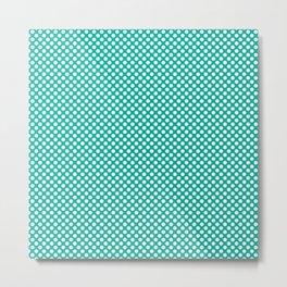 Pool Green and White Polka Dots Metal Print