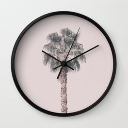 Tropical Palm Tree In Pastel Pink Light Wall Clock