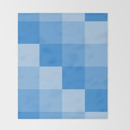 Four Shades of Light Blue Square Throw Blanket