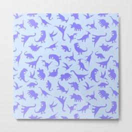 Fun Dinosaur Pattern (Blue) Metal Print