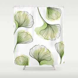 Watercolour Ginkgo Leaves Shower Curtain