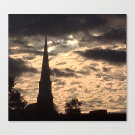 Steeple at sunset in Vermont Canvas Print