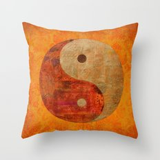 Yin and Yang original collage painting Throw Pillow
